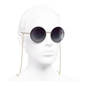NWT CHANEL ROUND GOLD CHAIN SUNGLASSES